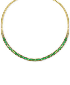 "EFFY® Emerald (8-5/8 ct. t.w.) & Diamond (1-1/5 ct. t.w.) 15-3/4"" Collar Necklace in 14k Gold"