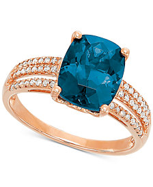 London Blue Topaz (3-3/4 ct. t.w.) & Diamond (1/8 ct. t.w.) Ring in 14k Rose Gold