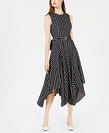 Calvin Klein Belted Printed Handkerchief-Hem Dress