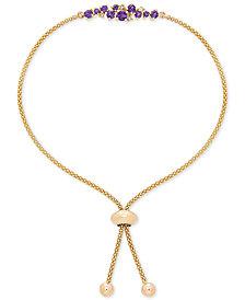 Amethyst (3-3/8 ct. t.w.) & Diamond Accent Cluster Bolo Bracelet in 14k Gold
