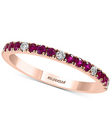 EFFY® Certified Ruby (1/4 ct. t.w.) and Diamond (1/10 ct. t.w.) Band in 14K Rose Gold