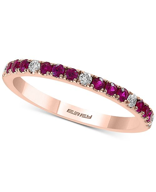 EFFY Collection EFFY® Certified Ruby (1/4 ct. t.w.) and Diamond (1/10 ct. t.w.) Band in 14K Rose Gold