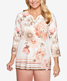 Alfred Dunner Petite Good To Go Printed Split-Neck Tunic