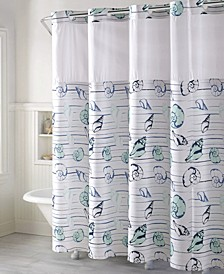 Seashell Stripe Print 3-in-1 Shower Curtain