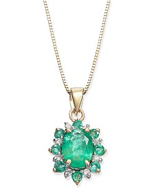 "Emerald (1 ct. t.w.) & Diamond Accent 18"" Pendant Necklace in 14k Gold"