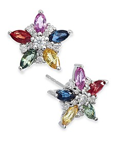Multicolor Sapphire (1-1/3 ct. t.w.) & Diamond (1/5 ct. t.w.) Flower Stud Earrings in 14k White Gold