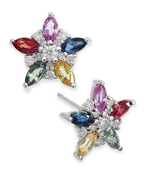 Macy's Multicolor Sapphire (1-1/3 ct. t.w.) & Diamond (1/5 ct. t.w.) Flower Stud Earrings in 14k White Gold