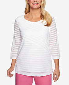 Alfred Dunner Petite Palm Coast Damask-Stripe Top