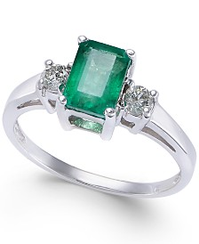 Emerald (9/10 ct. t.w.) & Diamond (1/6 ct. t.w.) Ring in 14k White Gold