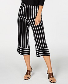 INC Striped Wide-Leg Cropped Pants, Created for Macy's