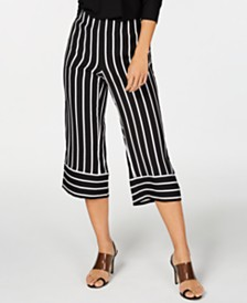 I.N.C. Petite Striped Wide-Leg Cropped Pants, Created for Macy's