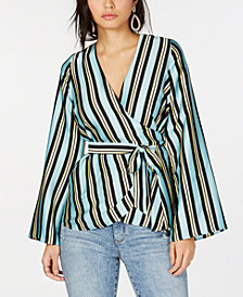 I.N.C. Petite Striped Wrap Top, Created for Macy's