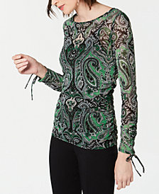I.N.C. Printed Tie-Sleeve Top, Created for Macy's