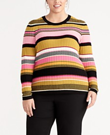 RACHEL Rachel Roy Trendy Plus Size Kennedy Striped Sweater, Created for Macy's