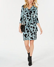 I.N.C. Scroll-Print Wrap Dress, Created for Macy's