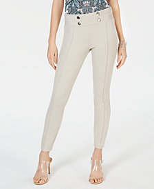 I.N.C. Tab-Front Skinny Ponte Pants, Created for Macy's