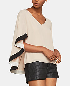 BCBGMAXAZRIA Charmaine Flutter-Sleeve Cape Top