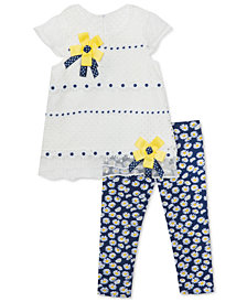 Rare Editions Baby Girls 2-Pc. Lace & Mesh Top & Leggings Set