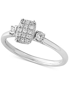 Diamond Cluster Ring (1/10 ct. t.w.) in 10k White Gold