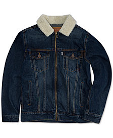 Levi's® Big Boys Zip-Front Trucker Jacket with Fleece Collar