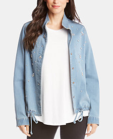Karen Kane Rhinestone-Embellished Denim Jacket