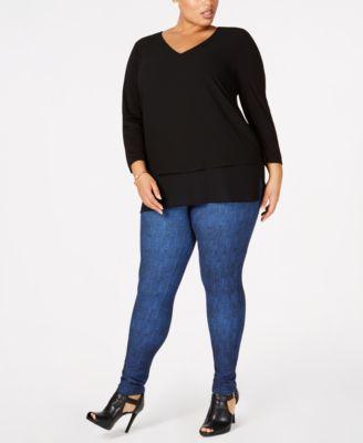 Plus Size Mixed-Media V-Neck Tunic