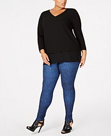 Plus Size Layered Top & Printed Leggings