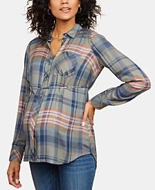 Motherhood Maternity Plaid Button-Front Shirt