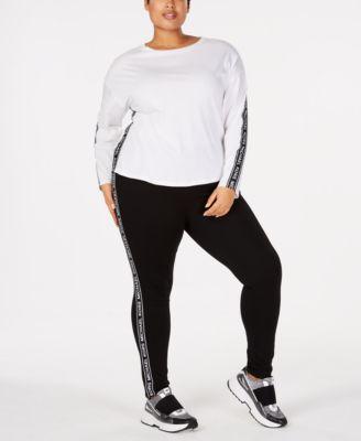 257c7262bea8 Michael Kors Plus Size Logo-Tape Top   Leggings   Reviews - Plus Sizes -  Macy s