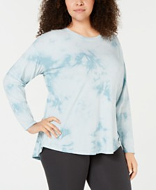 Calvin Klein Performance Plus Size Tie-Dyed Drop-Shoulder T-Shirt