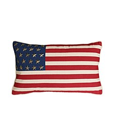 """George American Flag with Studs Pillow, 12"""" x 20"""""""