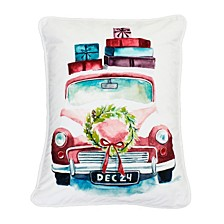 "Polyester Fill Charlie Christmas Truck Print Sequined Velvet Pillow, 14"" x 18"""