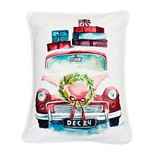 """Polyester Fill Charlie Christmas Truck Print Sequined Velvet Pillow, 14"""" x 18"""""""