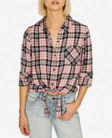 Sanctuary Haley Tie-Front Plaid Shirt