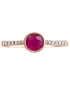 EFFY® Certified Ruby (5/8 ct. t.w.) & Diamond (1/10 ct. t.w.) Ring in 14k Rose Gold
