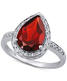 Rhodolite Garnet (3-1/5 ct. t.w.) & Diamond (1/10 ct. t.w.) Ring in 14k White Gold