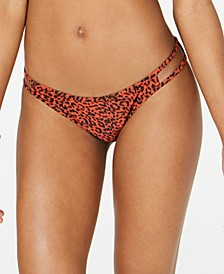 Juniors' On The Spot Printed Strappy Hipster Bikini Bottoms