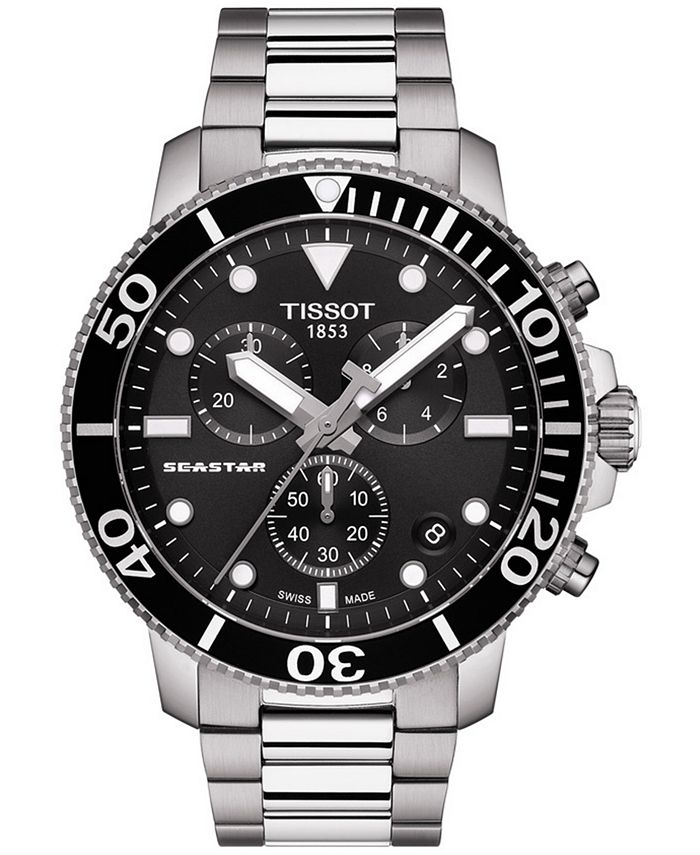 Tissot - Men's Swiss Chronograph Seastar 1000 Stainless Steel Bracelet Watch 45.5mm