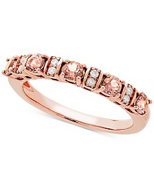 Love Rocks Bridal Morganite (1/2 ct. t.w) & Diamond Accent Band in 14k Rose Gold