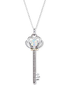 """Amethyst (3/8 ct. t.w.) & Diamond Accent Key 18"""" Pendant Necklace in Sterling Silver & 10K Gold"""