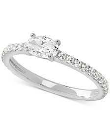 Cubic Zirconia Oval Ring in Sterling Silver