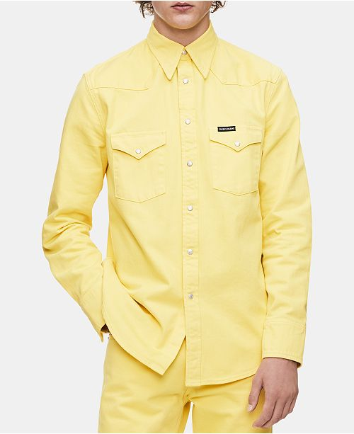f334ca34 ... Calvin Klein Jeans Men's Foundation Regular-Fit Western Shirt ...