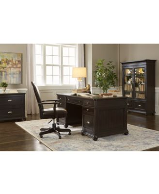 Clinton Hill Ebony Home Office Furniture Set, 4-Pc. Set (L-Shaped Desk, Lateral File Cabinet, Open Bookcase & Upholstered Desk Chair), Created for Macy's
