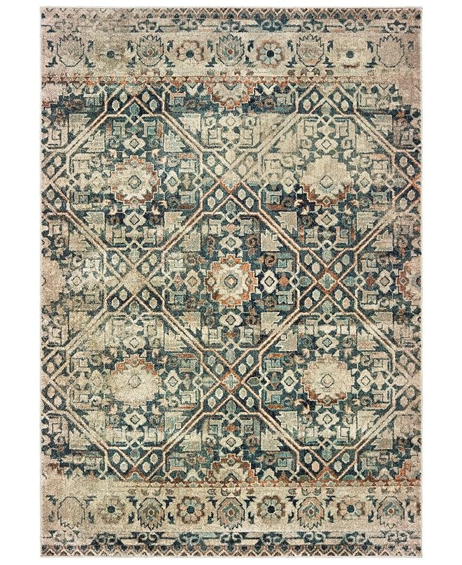 "Oriental Weavers Raleigh 4925L Blue/Ivory 2'3"" x 7'6"" Runner Area Rug"