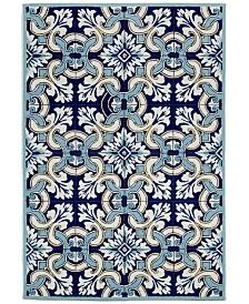 """Liora Manne' Ravella 2253 Floral Tile Blue 7'6"""" x 9'6"""" Indoor/Outdoor Area Rug"""