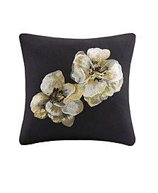 "N Natori Casa Noir 18"" x 18"" Embroidered Cotton Square Decorative Pillow"