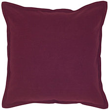 "Rizzy Home Solid Purple 20"" X 20"" Pillow Cover"