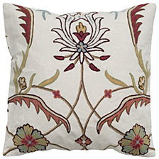 """Rizzy Home Orange 20"""" X 20"""" Floral With Medallion Pillow Cover"""