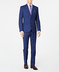 Men's Slim-Fit Stretch Bright Blue Check Suit