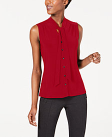 Anne Klein Sleeveless Tie-Neck Button-Front Blouse